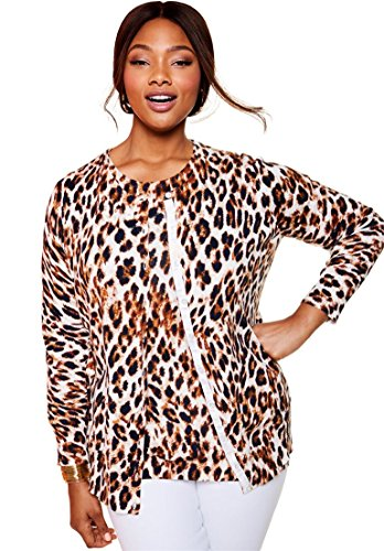 Jessica London Women's Plus Size Fine Gauge Cardigan Cheetah (Cheetah Print Cardigan)