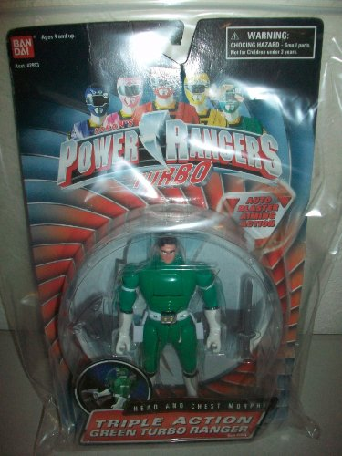 Power Rangers Tubo Bandai 1997 Green Ranger Adam Auto Blaster Aiming Triple Action head & chest morph figure
