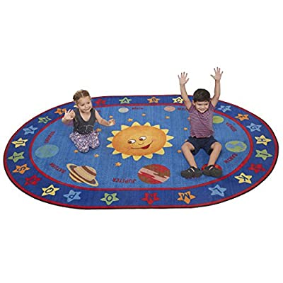 ECR4Kids Out of This World Alphabet Educational Rug for Children, School Classroom Learning Carpet, Oval, 6 x 9-Feet: Kitchen & Dining
