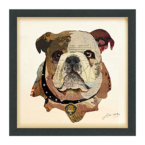 Empire Art Direct English Bulldog Pup Dimensional Collage Handmade by Alex Zeng Framed Graphic Dog Wall Art, 17