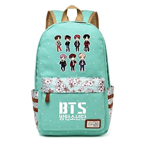 JUSTGOGO Korean Casual Backpack Daypack Laptop Bag College Bag Book Bag School Bag (Green 3)