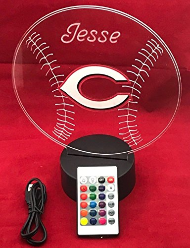 Cincinnati Handmade Acrylic Personalized Reds MLB Baseball Light Up Light Lamp LED Table Lamp, Our Newest Feature - It's Wow, Comes with Remote,16 Color Options, Dimmer, Free Engraved, Great - Light Reds Cincinnati