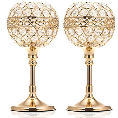 ManChDa Valentines Gift Gold Crystal Bowl Candle Holder Set of 2 for Dining Room Flange Decorative Centerpieces Modern House Decor Gifts for Anniversary Celebration (Holders Candle Decorated)