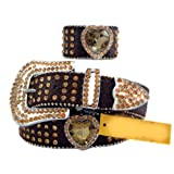Chocolate Brown Leather Belt in a Crocodile Pattern, Decorated in Yellow Crystals, Size S/M