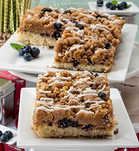 Dulcet Blueberry Crumb Cake Gourmet Gift Basket, Incudes 2 Trays 8 X 8 Crumb Cakes, Ideal for Birthday, Get Well, Sympathy, Thank You, Top Gift! (Crumb Cake Muffins)
