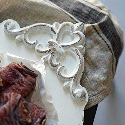 Tiamu Plateau en bois sculpt/é style vintage blanc fait /à la main pour dessert g/âteau d/écoration de table /à caf/é ou sous-verre