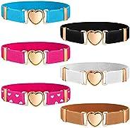 6 Pieces Kids Elastic Stretch Belts Girl Waist Belt Adjustable Uniform Belt for Teen Kids Girls Dresses Heart