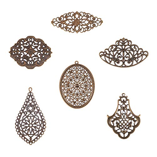 PH PandaHall 120pcs 6 Style Antique Bronze Iron Filigree Connectors Charms Pendants Metal Embellishments for DIY Hairpin Headwear Earring Jewelry Making