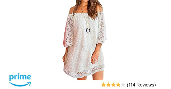 MIHOLL Women s Off Shoulder Lace Shift Loose Mini Dress at Amazon Women s  Clothing store  6f510ee5abc1