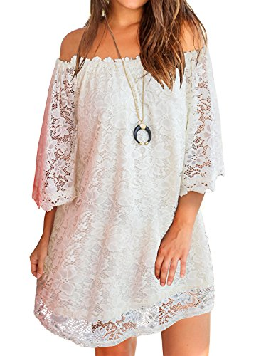 MIHOLL Summer Dresses for Women Off Shoulder Lace Shift Loose Mini Dress (Medium, White)