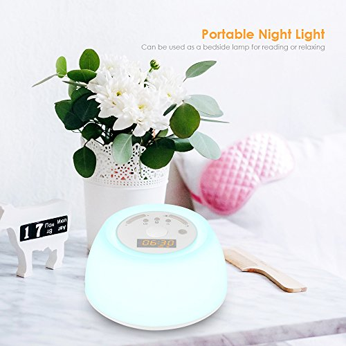 INLIFE Wake Up Alarm Light Sunrise and 4 Natural Sounds, White with 4 7 Night Light