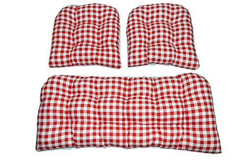 (3 Piece Wicker Cushion Set - Red and White Plaid / Country Checkered / Checkerboard Indoor Cotton Fabric Cushion for Wicker Loveseat Settee & 2 Matching Chair Cushions)