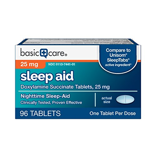 Basic Care Sleep Aid, Doxylamine Succinate Tablets, 25 mg, 96 Count (Best Otc For Sleep)