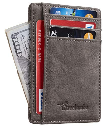 Travelambo Front Pocket Minimalist Leather Slim Wallet RFID Blocking Medium Size (Oldo Tan Greyish)