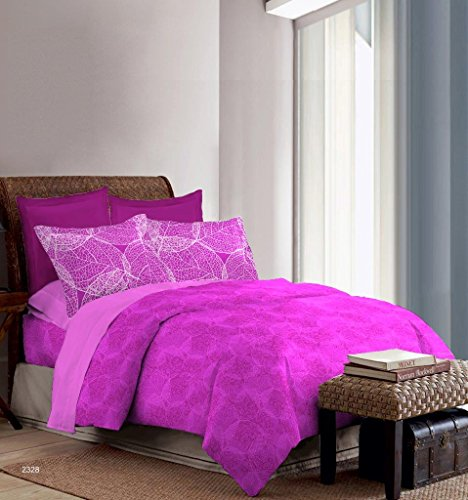 Bombay Dyeing Foliage 130 TC Polycotton Double Bedsheet with 2 Pillow Covers – Magenta