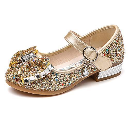 SOFMUO Little Girls Ballet Mary Jane Flats Sparkle Bowknot Ballerina Wedding Party Princess Dress Shoes (Toddler/Little Kids) Gold,26