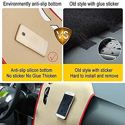 Clidr Texture Flannel Anti-Slip Dashboard Cover Custome Fit Center Console Cover for Honda New CRV 2007-2011