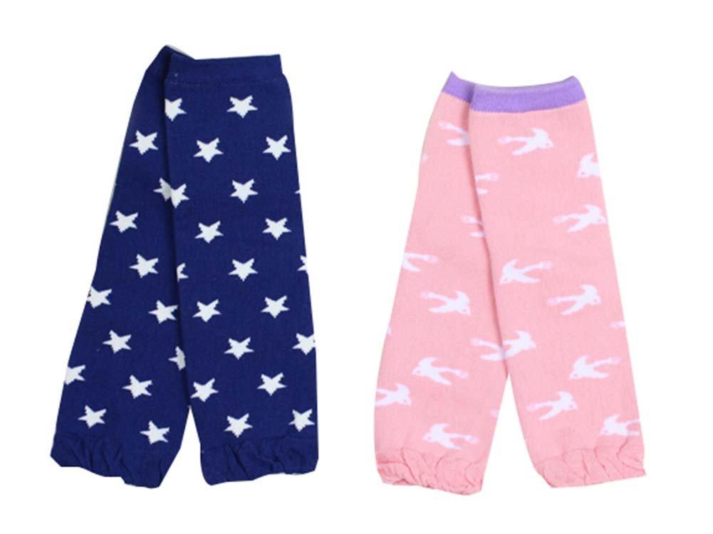 Set von 2 Star / Vogel Muster Baby Socken Baby-Leggings Baby Beinlinge, 0-3 Jahre Blancho Bedding