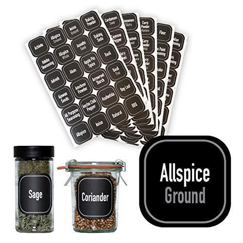 AllSpice 312 Preprinted Water Resistant Square Spice Jar Labels Set 1.5