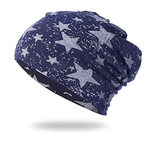 (NRUTUP Cold Weather Hats, Full Five-Star Male and Female Five-Pointed Star Knit Hat Pile Cap Ear Protector.(Navy,Free Size))