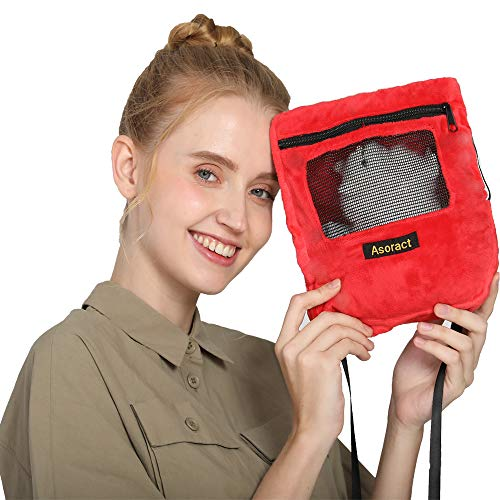 Asoract Hamster Carrier Bag, Carrier Bag Super Soft Coral Fleece,Sugar Glider Bonding Pouch Carry for Sugar Gliders and Other Small Pets (Red)
