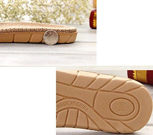 KISS GOLD(TM) Zapatillas de Casa Interior Fibra de Lino Raya Unisex Rojo