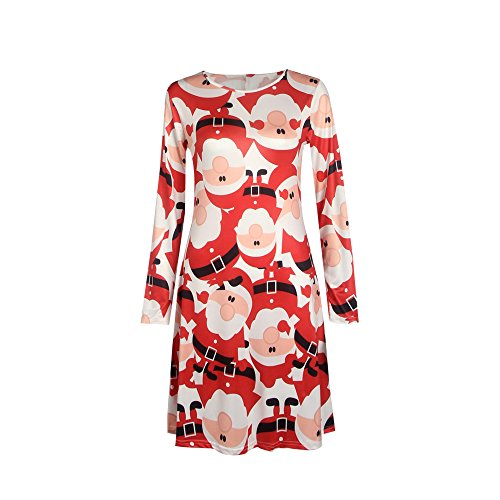 Price comparison product image Chilie Womens Mini Dresses Christmas Trees Xmas Santa Snowman Reindeer Rudolph Gift Bells Present Ladies Swing Top 4XL