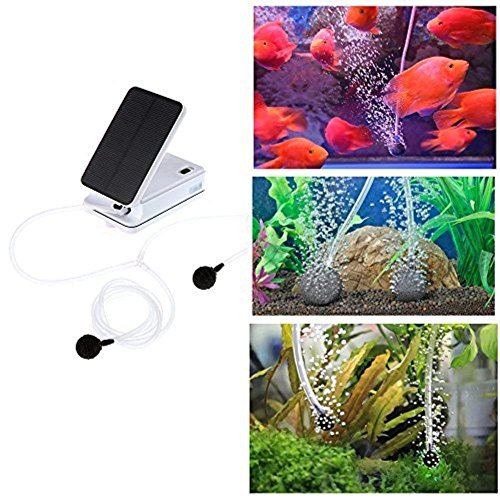 Aoile Noiseless Solar-Powered Oxygen Pump Oxygenator Aerator for Outdoor Fishing Fish Tank Aquarium