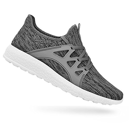 QANSI Womens Girls Fashion Casual Knitted Sports Sneakers Athletic Running Shoes Size 9.5 Gray/White