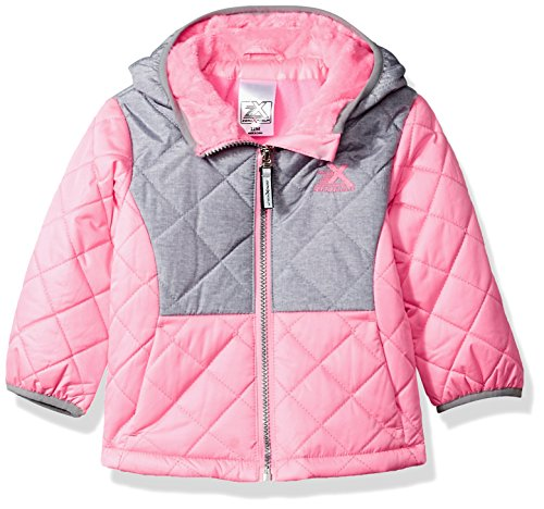 ZeroXposur Baby Girls Infant Lydia Quilted Transitional Jacket, Lipstick, 12 Mos