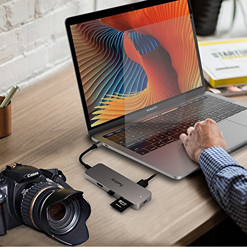 Fiveboy Premium USB C Hub Adapter, with 60W Power Delivery, 4K USB C to HDMI Output, MicroSD/SD Card Reader, 3 USB 3.0 Ports, for MacBook Pro, ChromeBook, XPS and More by Fiveboy (Image #3)
