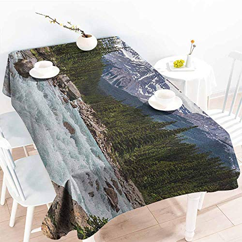 familytaste Landscape,Decor Collection Table Cloths Photo of Limestone Creek in The Alberta Cold Winter Time Adventure Image Print 60