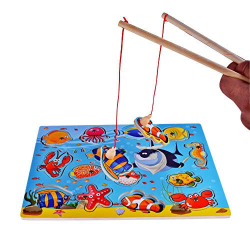 Rolimate 14 Piece Fishes Basic Educational Development Wooden Magnetic Bath Fishing Travel Table Game Birthday Gift Toy For Age 3 4 5 Year Old Kid