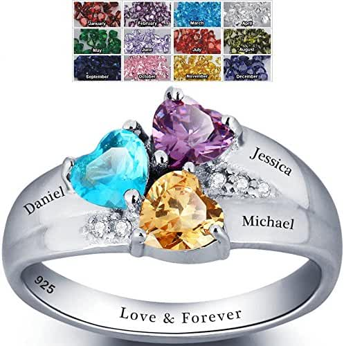 Mothers Rings with Birthstones, Choose 3 Birthstones 3 Names and 1 Engraving Customized and Personalized