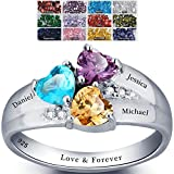 Mothers Ring with Birthstones, Choose 3 Birthstones 3 Names and 1 Engraving Customized and Personalized Size 6