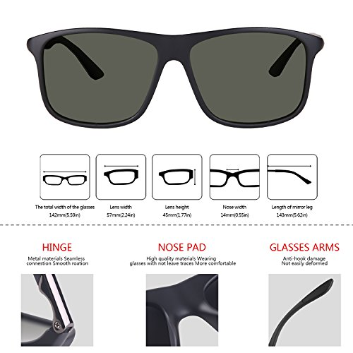 290587c2b3 Vseegrs Vintage Oversized Polarized Driving Sunglasses for Men Women with UV  Protection Retro Square Sun Glasses