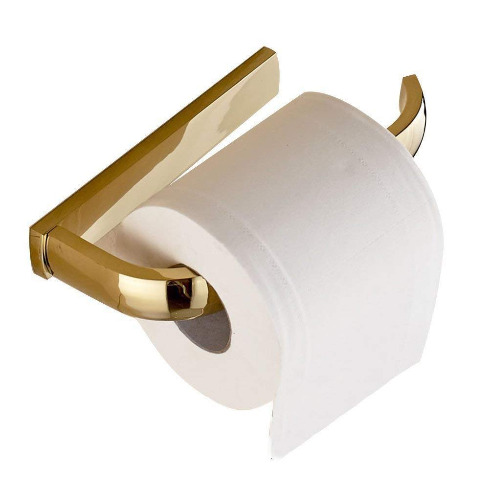 juyou Chrome Toilet Paper Holder,Wall Mounted Luxury Solid Bronze Construction in Bathroom Kitchen Home Decorative (Gold)