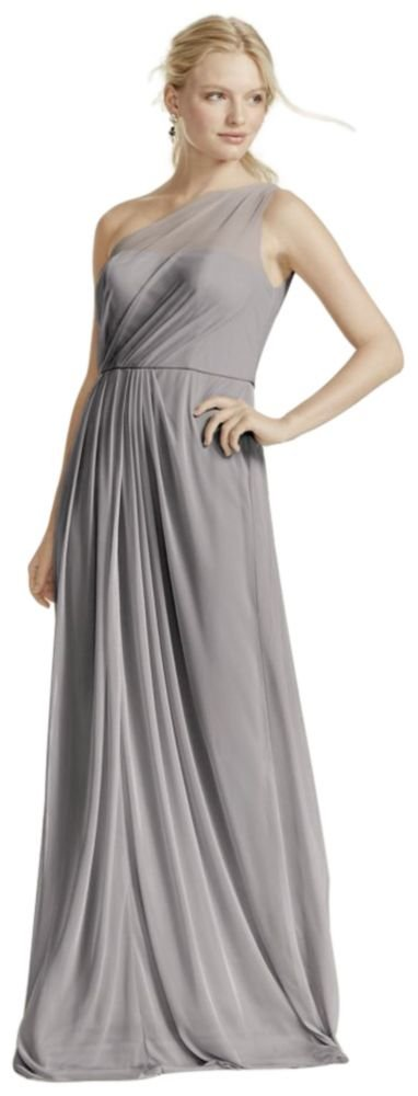 Long Mesh Bridesmaid Dress with One Shoulder Neckline Style F15928, Mercury, 18 by David's Bridal