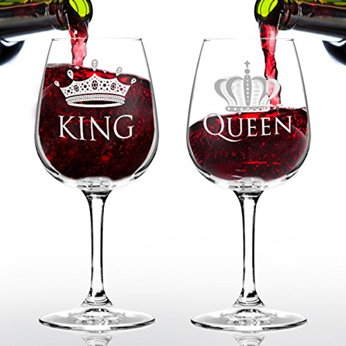 King and Queen Wine Glass Gift Set - 12.75 oz ea.- Cool Present Idea for Bridal Shower, Engagement, Wedding, Anniversary, Newlyweds, and Couples - Gift for Mom, Women, Friends or Her (Set of 2)