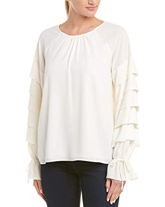 3ff1c806c70b1f 1.State Women s Long Sleeve Tiered Sleeve Blouse With Ties Antique White  X-Small