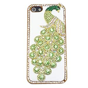 Fresh Green Peacock Crystal Rhinestone Back Cover White Leather Phone Case For iPhone 5 5S