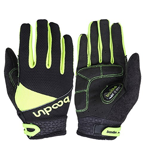 Ezyoutdoor Full Finger Breathable Riding Gloves with Shock-absorbing Gel Silicone Pad for Cycling Bicycle Riding Skiing (Green, XL)