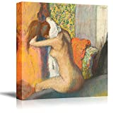 After The Bath Woman Drying Her Neck by Edgar Degas Giclee Canvas Prints Wrapped Gallery Wall Art | Stretched and Framed Ready to Hang - 24' x 24'