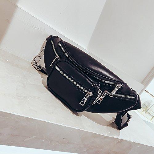ZHANGJIA para Mini Bolsillo Lap Bolso Hombro Ins de Moda negro Mujer Blanco de Bolso UwqUrtp