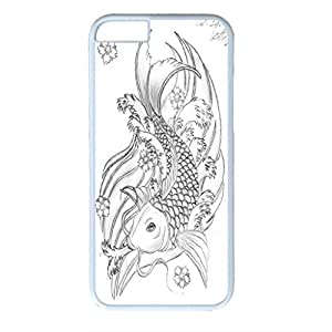 Cute Fish Design White PC Case for Iphone 6 Brocarded Carp