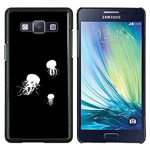 Jelly Fish B & W- Metal de aluminio y de plástico duro Caja del teléfono - Negro - Samsung Galaxy A5 / SM-A500