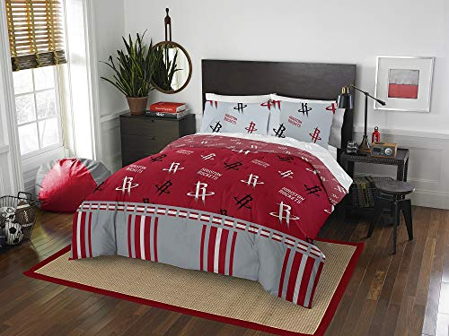 HNU NBA Houston Rockets Queen Comforter Set,Grey Red Bedding Set,Cool Modern Print Boys Sports Fan Frenzy Contemporary All Over Printed Fancy Cozy Basketball Texas Reversible Machine Washable