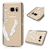 Image of (Not for S7 Edge) S7 Case,Galaxy S7 Case - Badalink Ultra Thin Anti-slip Soft TPU Case with Fancy Print Pattern Clear Transparent Cover for Samsung Galaxy S7 (2016) - White Feather