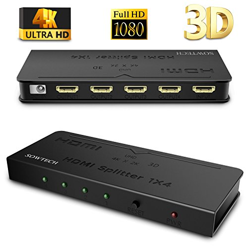 [Upgrade Version] HDMI Splitter SOWTECH 1X4 Ports Powered Video Converter with Full Ultra HD 1080P 4K/2K, 3D Resolutions and HDCP (1 Input to 4 Outputs) - (Output Video Splitter)