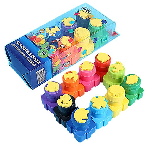 Happlee Washable Kid's Paint ,Finger paints & Stamps, Washable Kids finger Painting set of 10 Bottles, Eco Kids Non-Toxic Natural Paint (10 Count)